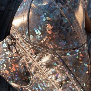 ✨Space Babe Holographic Zip Up Bustier✨